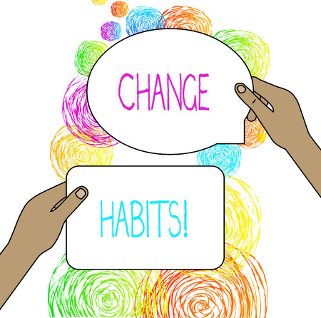 Conceptual hand writing showing Change Habits. Concept meaning to stop doing something that is somewhat bad or harmful Фото со стока