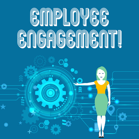 Text sign showing Employee Engagement. Business photo showcasing relationship between an organization and its employees Woman Standing and Presenting the SEO Process with Cog Wheel Gear inside Standard-Bild