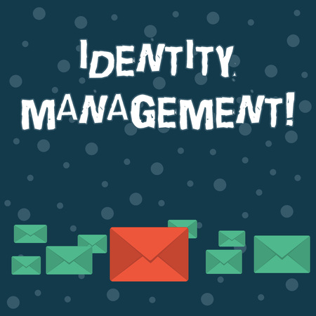 Writing note showing Identity Management. Business concept for administration of individual identities within a system Color Envelopes in Different Sizes with Big one in Middle 版權商用圖片