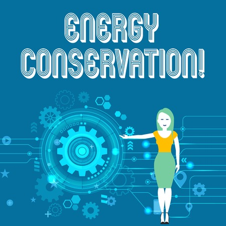 Text sign showing Energy Conservation. Business photo showcasing Reduction in the amount of energy consumed in a process Woman Standing and Presenting the SEO Process with Cog Wheel Gear inside