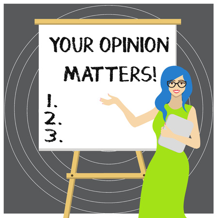 Writing note showing Your Opinion Matters. Business concept for show you do not agree with something that just been said
