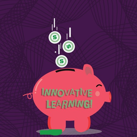 Text sign showing Innovative Learning. Business photo showcasing Interdisciplinary teaching that stirs analytic thinking Color Piggy Bank Sideview and Dollar Currency Coins Falling Down to the Slit
