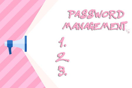 Writing note showing Password Management. Business concept for software used to help users better analysisage passwords Megaphone Extending Capacity of Volume Range thru Wide Beam Фото со стока