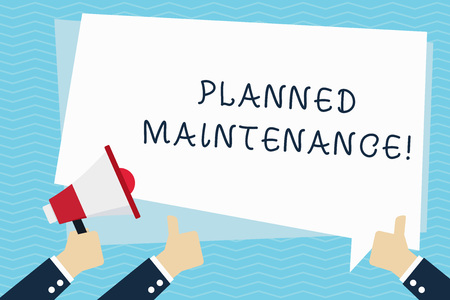 Conceptual hand writing showing Planned Maintenance. Concept meaning reventive maintenance carried out base on a fixed plan Hand Holding Megaphone and Gesturing Thumbs Up Text Balloon
