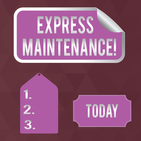 Writing note showing Express Maintenance. Business concept for damage is immediately debited to repairs and maintenance Color Label Self Adhesive Sticker with Border Corner and Tag 写真素材
