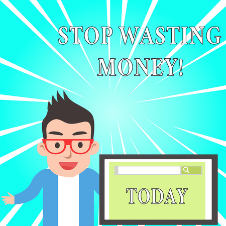 Text sign showing Stop Wasting Money. Business photo text advicing demonstrating or group to start saving and use it wisely 写真素材