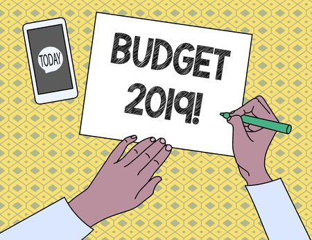 Handwriting text writing Budget 2019. Conceptual photo estimate of income and expenditure for current year