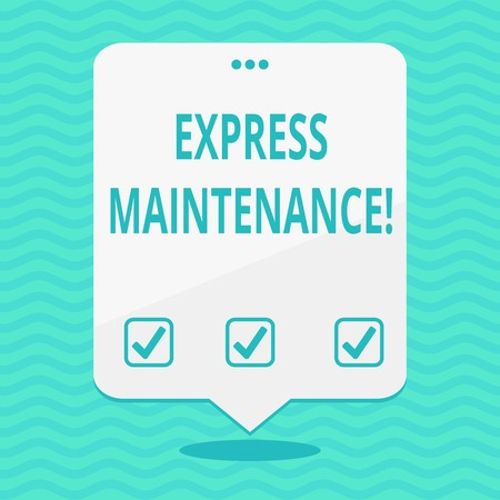 Text sign showing Express Maintenance. Business photo showcasing damage is immediately debited to repairs and maintenance Blank Space White Speech Balloon Floating with Three Punched Holes on Top Фото со стока