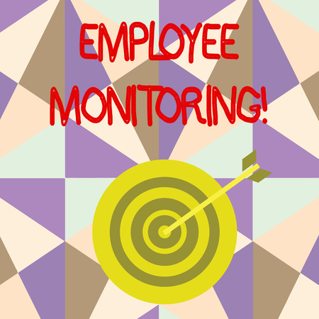 Writing note showing Employee Monitoring. Business concept for collecting information about employees at workplace Dart Board in Concentric Style with Arrow Hitting the Center Bulls Eye