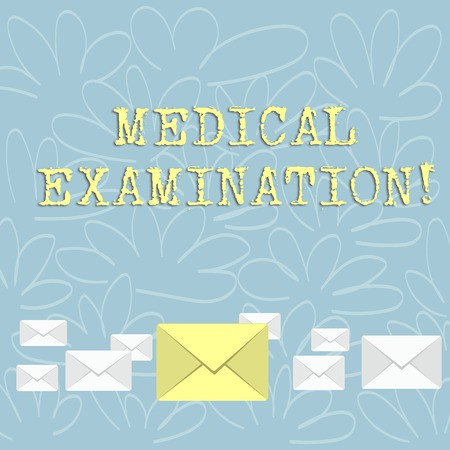 Writing note showing Medical Examination. Business concept for Checkup carried out to determine the physical fitness Color Envelopes in Different Sizes with Big one in Middle 版權商用圖片