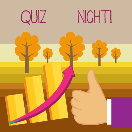 Conceptual hand writing showing Quiz Night. Concept meaning evening test knowledge competition between individuals