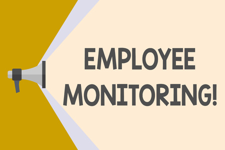 Writing note showing Employee Monitoring. Business concept for collecting information about employees at workplace Megaphone Extending the Volume Range through Space Wide Beam
