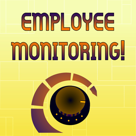 Handwriting text Employee Monitoring. Conceptual photo collecting information about employees at workplace Volume Control Metal Knob with Marker Line and Colorful Loudness Indicator 版權商用圖片
