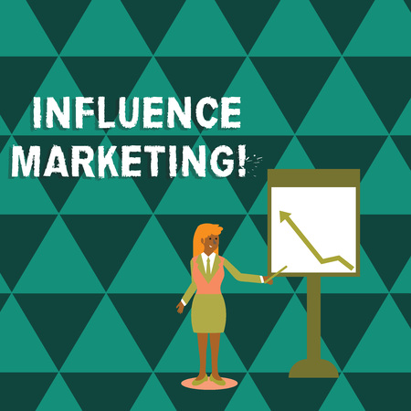 Writing note showing Influence Marketing. Business concept for Using key leaders to drive a brand s is message to market Woman Holding Stick Pointing to Chart of Arrow on Whiteboard