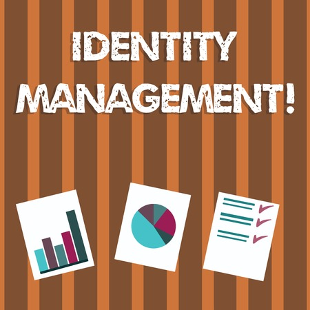 Text sign showing Identity Management. Business photo text administration of individual identities within a system Presentation of Bar, Data and Pie Chart Diagram Graph Each on White Paper