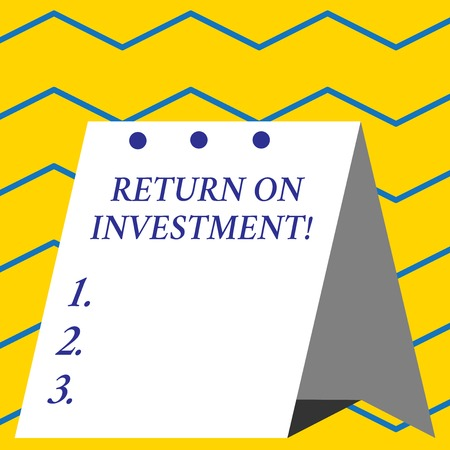 Conceptual hand writing showing Return On Investment. Concept meaning perforanalysisce measure used evaluate efficiency of investment