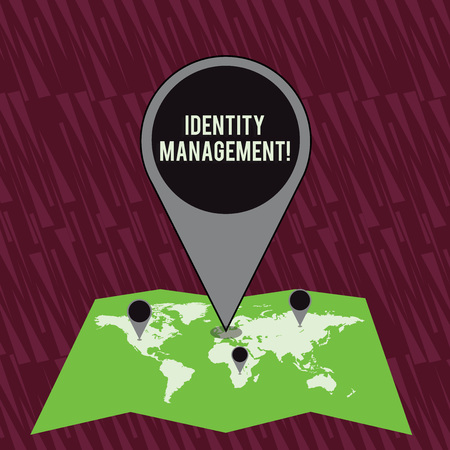 Text sign showing Identity Management. Business photo text administration of individual identities within a system Colorful Huge Location Marker Pin Pointing to an Area or GPS Address on Map