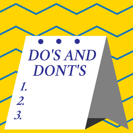 Conceptual hand writing showing Do S And Dont S. Concept meaning Rules or customs concerning some activity or actions