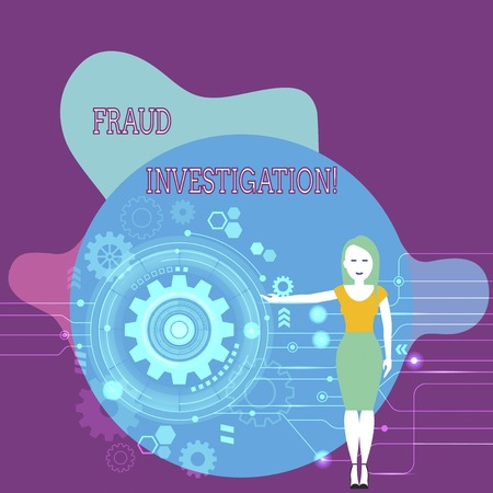Text sign showing Fraud Investigation. Business photo text process of determining whether a scam has taken place Woman Standing and Presenting the SEO Process with Cog Wheel Gear inside