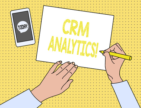 Word writing text Crm Analytics. Business photo showcasing applications used to evaluate an organization s is customer data Stock Photo