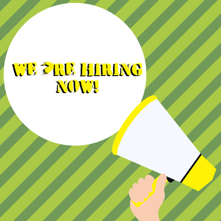 Conceptual hand writing showing We Re Hiring Now. Concept meaning recently employ someone or pay someone to do particular job