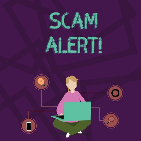 Handwriting text writing Scam Alert. Conceptual photo fraudulently obtain money from victim by persuading him Woman Sitting Crossed Legs on Floor Browsing the Laptop with Technical Icons