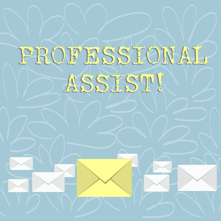 Writing note showing Professional Assist. Business concept for help a professional doing some expert task or duty Color Envelopes in Different Sizes with Big one in Middle
