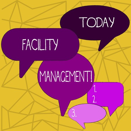 Writing note showing Facility Management. Business concept for maintenance of an organization s is buildings and equipment Speech Bubble in Different Sizes and Shade Group Discussion Фото со стока