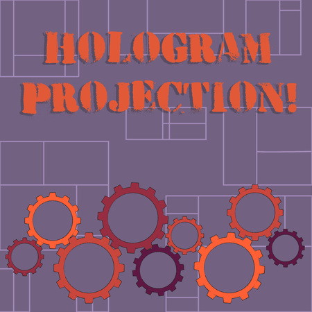 Text sign showing Hologram Projection. Business photo showcasing photographic projection of a recording of a light Colorful Cog Wheel Gear Engaging, Interlocking and Tesselating Flat Style Reklamní fotografie