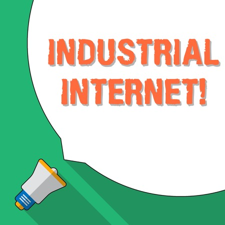 Word writing text Industrial Internet. Business photo showcasing use of the internet of things in industrial sectors Huge Blank White Speech Bubble Occupying Half of Screen and Small Megaphone