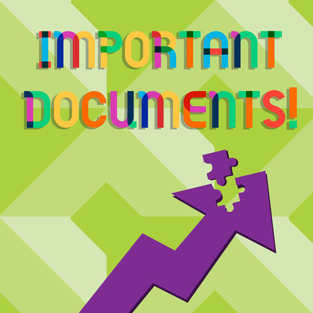 Handwriting text writing Important Documents. Conceptual photo more official pieces of paper with writing on them Colorful Arrow Pointing Upward with Detached Part Like Jigsaw Puzzle Piece
