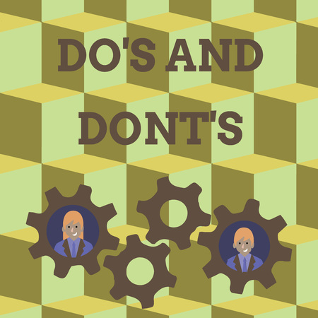 Word writing text Do S And Dont S. Business photo showcasing Rules or customs concerning some activity or actions Two Business People Each Inside Colorful Cog Wheel Gears for Teamwork Event