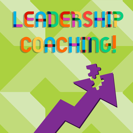 Handwriting text writing Leadership Coaching. Conceptual photo individualized process that builds a leader s is capability Colorful Arrow Pointing Upward with Detached Part Like Jigsaw Puzzle Piece