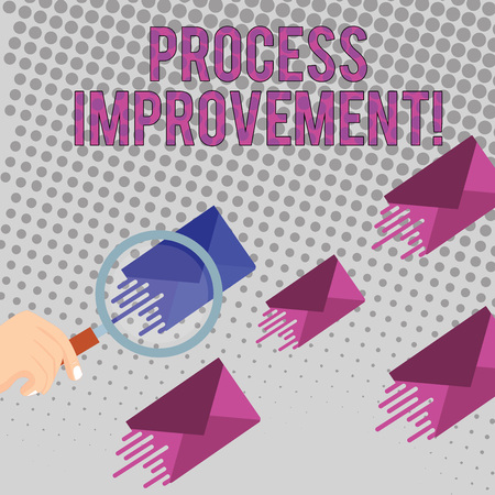 Conceptual hand writing showing Process Improvement. Concept meaning ongoing effort to improve products services or processes Magnifying Glass on Color Envelope and others has Same Shade Stock Photo