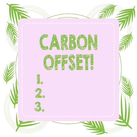 Text sign showing Carbon Offset. Business photo text Reduction in emissions of carbon dioxide or other gases
