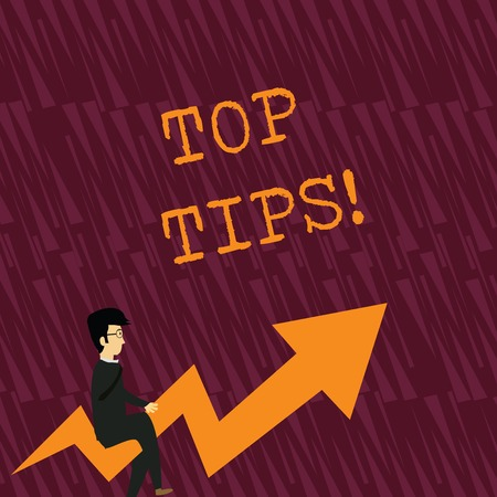 Text sign showing Top Tips. Business photo showcasing small but particularly useful piece of practical advice Businessman with Eyeglasses Riding Crooked Color Arrow Pointing Going Up Reklamní fotografie