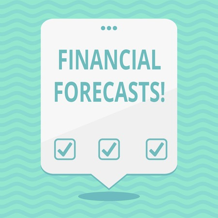 Text sign showing Financial Forecasts. Business photo showcasing estimate of future financial outcomes for a company Blank Space White Speech Balloon Floating with Three Punched Holes on Top