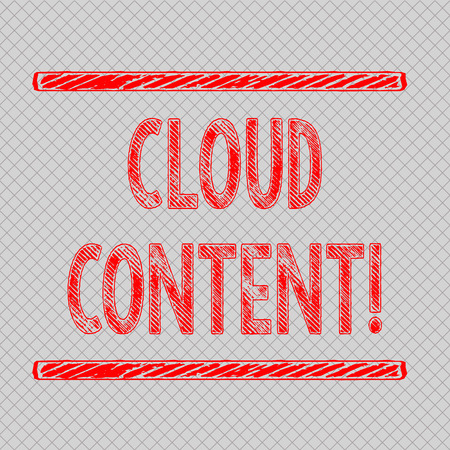 Writing note showing Cloud Content. Business concept for Standalone platform or supported by an additional services Diagonal Gray Grid Mesh Cell in Parallel Line Intertwined Pattern