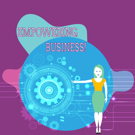Text sign showing Empowering Business. Business photo text creating an environment that fosters growth of business Woman Standing and Presenting the SEO Process with Cog Wheel Gear inside