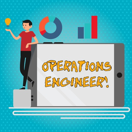 Text sign showing Operations Engineer. Business photo showcasing analyze and design operation that will improve work flow Man Leaning on Blank Smartphone Turned on Its Side with Graph and Idea Icon 版權商用圖片