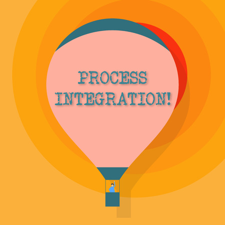 Conceptual hand writing showing Process Integration. Concept meaning sharing of data and events between business processes Hot Air Balloon Floating with Passenger Waving From Gondola