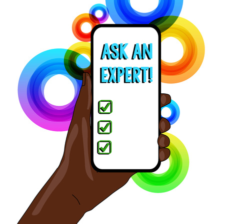 Conceptual hand writing showing Ask An Expert. Concept meaning confirmation that have read understand and agree with guidelines