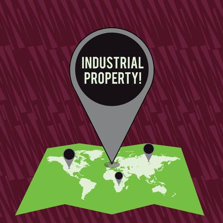 Signe texte montrant la propriété industrielle. Texte photo d'entreprise la propriété immatérielle d'une marque ou d'un brevet Marqueur d'emplacement coloré énorme Pin pointant vers une zone ou une adresse GPS sur la carte Banque d'images