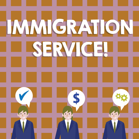 Conceptual hand writing showing Immigration Service. Concept meaning responsible for law regarding immigrants and immigration Businessmen has Speech Bubble with Optimization Cost Icons Stock Photo