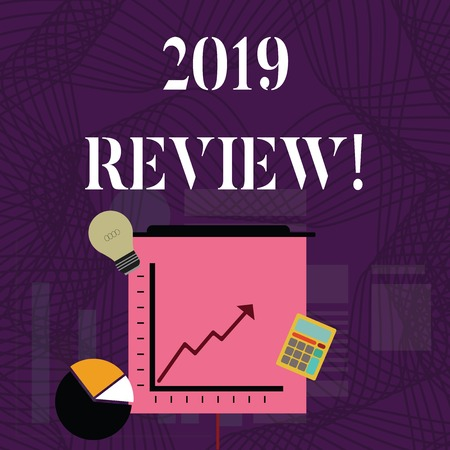 Text sign showing 2019 Review. Business photo showcasing remembering past year events main actions or good shows Investment Icons of Pie and Line Chart with Arrow Going Up, Bulb, Calculator Фото со стока