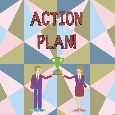 Word writing text Action Plan. Business photo showcasing proposed strategy or course of actions for certain time Man and Woman in Business Suit Holding Together the Championship Trophy Cup