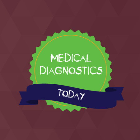 Writing note showing Medical Diagnostics. Business concept for a symptom or characteristic of value in diagnosis Color Seal Sticker with Jagged Edge and Shaded Ribbon Strip Imagens