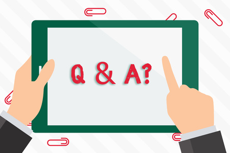 Text sign showing Q And A Question. Business photo showcasing in which demonstrating asks questions and another one answers them Businessman Hand Holding, Pointing and Touching Colorful Tablet Blank Screen