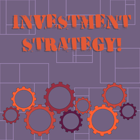 Text sign showing Investment Strategy. Business photo showcasing the systematic plan to allocate investable assets Colorful Cog Wheel Gear Engaging, Interlocking and Tesselating Flat Style