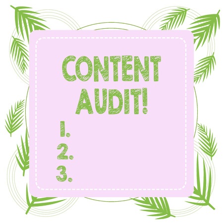Text sign showing Content Audit. Business photo text process of evaluating content elements and information Standard-Bild - 122762692